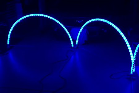 RGB WS2811 LED Pixel Leaping Arches using Transparent Air Seeder Tubing - YouTube
